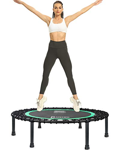 DARCHEN 350lbs Rebounder Mini Trampoline for Adult, Indoor Small Trampoline for Exercise Workout Fitness, Upgrade Design Bungee Trampoline for Safer Quieter Bounce [40 Inches]
