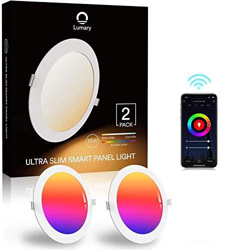 Foco empotrable inteligente Alexa, paquete de 2 unidades, 18 W, WiFi, LED, colores regulables, RGBWW 2700 K - 6500 K, foco empotrable para el techo compatible con Alexa Google Home, sustituye a 180 W