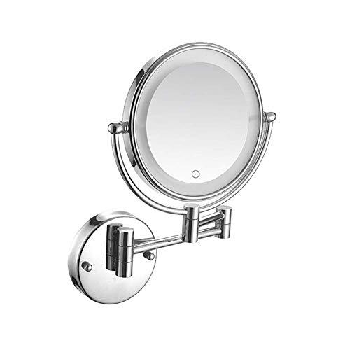 Espejo de baño LED Espejo de maquillaje iluminado Espejo montado en la pared Pantalla táctil Aumento 5X Doble brazo Extender Doble cara Redondo 360deg;Instalación oculta de espejo de pared giratorio