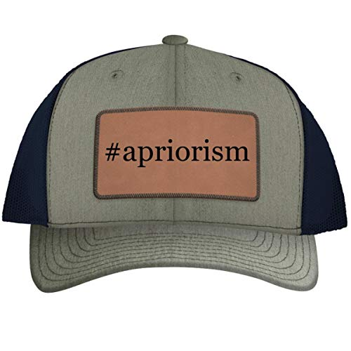 #Apriorism - Hashtag Leather Dark Brown Patch Engraved Trucker Hat, HeatherNavy, One Size