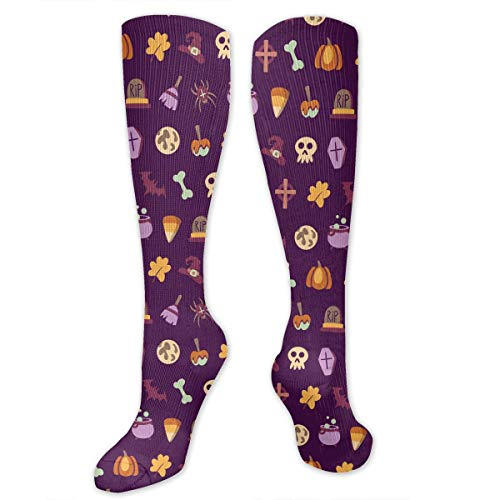 Best Athletic Compression Socks for Women & Men - Magic Broom Witch Skull Candy Corn Halloween Pattern Print Medical Knee High Tube Socks - Long Stockings for Travel/Running/Flying