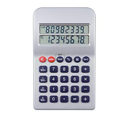 Taschenrechner mit Euro Umrechner Doppeltes Display (8 Stellen, Batterie, Umrechnungsfunktion, Tischrechner)
