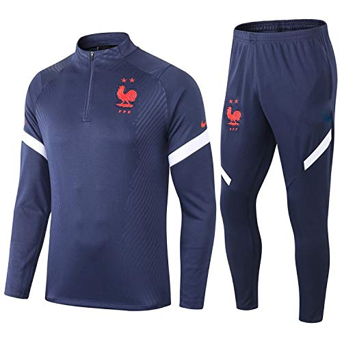 PARTAS Langarm Frankreich Tracksuits Football Wear Verein Uniform Trainingsanzug Frankreich Wettbewerb Anzug Herren 2 Stück Sets (Size : S)
