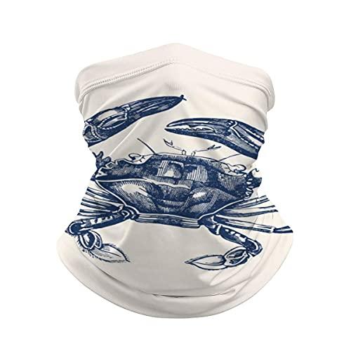 asdew987 Vintage Cangrejo Ilustración Azul Marino en Crema Cuello Polaina Máscara Cara Bandana Calentador de Cuello Frío a prueba de viento Ligero Bufanda de seda de hielo para hombres mujeres