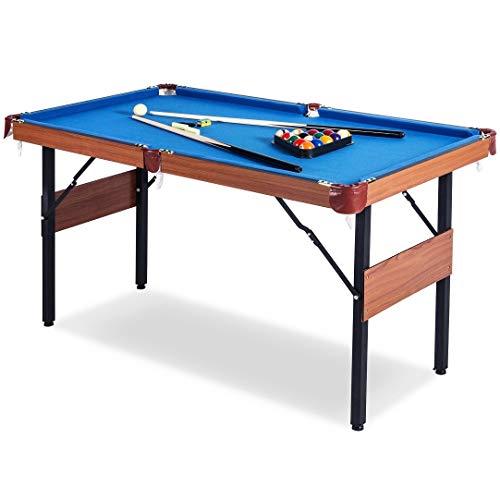 Buckshot Billardtisch 5ft - 157x80x81cm Dakota - Tischbillard klappbar mit Zubehör - 5 Fuß Pool Billard mit Metallklappbeinen - Braun/Blau