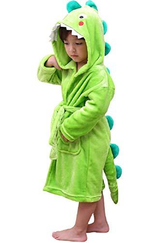 Albornoz de baño niño y niña Dinosaurio, 100% Felpa Bata con Capucha Dinosaurio (Verde, 2-3 años)