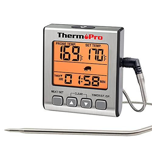 ThermoPro Digitales Grill-Thermometer Bratenthermometer Fleischthermometer Ofenthermometer mit Timer, Orange Hinterbeleuchtung, Temperaturbereich bis 300°C