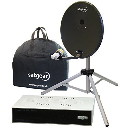 Satgear satellietinstallatie (draagbaar, 54 cm, met Easyfind HD SAT-ontvanger, donkergrijs,