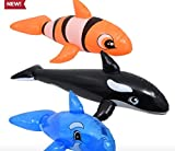 """3 Pack Inflatable Ride On Swim Pool Toy Floats 24"""" Blue Killer Whale Clown Fish"""