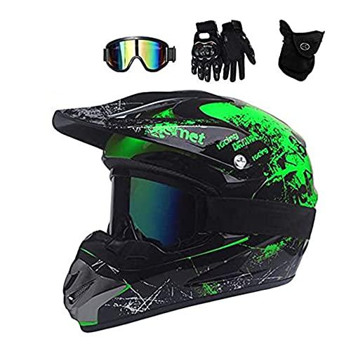 Casco Casco Verde, Todo terreno Motocross Casco Casco Accesorios con gafas Máscara Guantes Casco Hooks Casco Completo MTB Hombre Casco para Ciclismo de Montaña Mountain Mountain Buggy Sports Safety