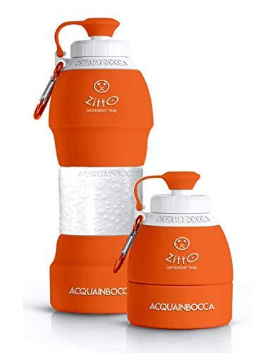 Zitto. Borraccia Acquainbocca in Silicone Ecobottiglia Arancione