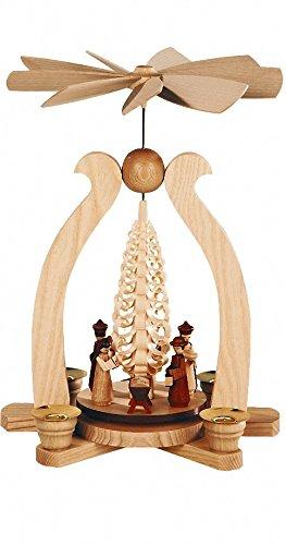 Müller German christmas pyramid arch Nativity scene, height 29 cm / 11 inch, natural, original Erzgebirge by Mueller Seiffen