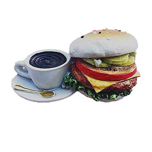 3D-Kühlschrankmagnet mit leckeren Lebensmitteln, Kaffee und Hamburgern, Dekoration für Zuhause, Küche, Magnet-Aufkleber, Kühlschrank-Magnet-Kollektion