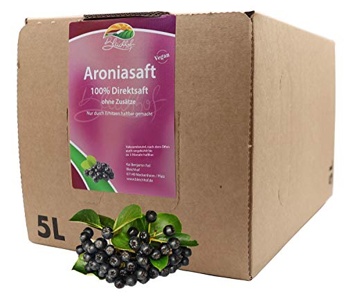 Bleichhof Aroniasaft - 100{c030edc4a08836c31217ea5304bd484336bf0e195f838a1c819927e093cbece7} Direktsaft, vegan, OHNE Zuckerzusatz, Bag-in-Box mit Zapfsystem (1x 5l Saftbox)