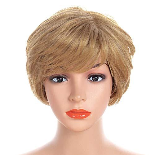 Curly Femmes Court Perruque ondulée synthétique de Cheveux Pleine Perruque 6 Pouces,Marron