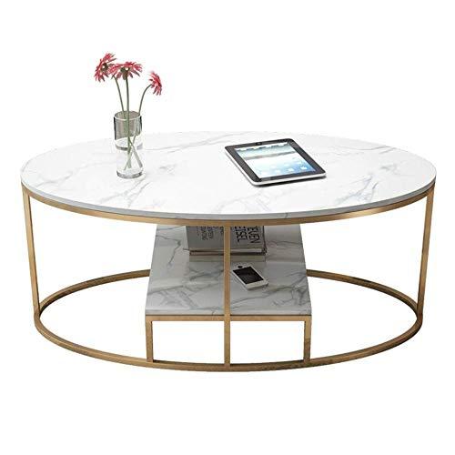 ZCXBHD ovale salontafel van marmer, moderne Scandinavische stijl, luxueus en elegant, frame van roestvrij staal, verguld, basis van smeedijzer voor woonkamer hotel (wit)