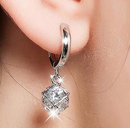 WWWL Aretes 925 esterlina-Plata-joyería Cristal Bola Stud Pendientes para Mujeres Orejas joyería de Plata de Ley