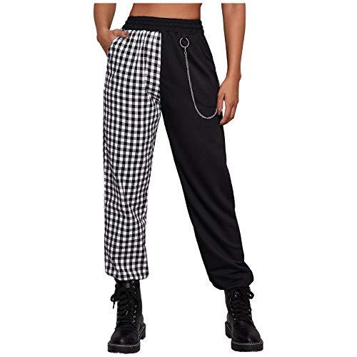 Lenfeshing Pantalones Punk con Bolsillos para Mujer Pantalones A Cuadros Casuales con Cadena de Cintura Alta Pantalones