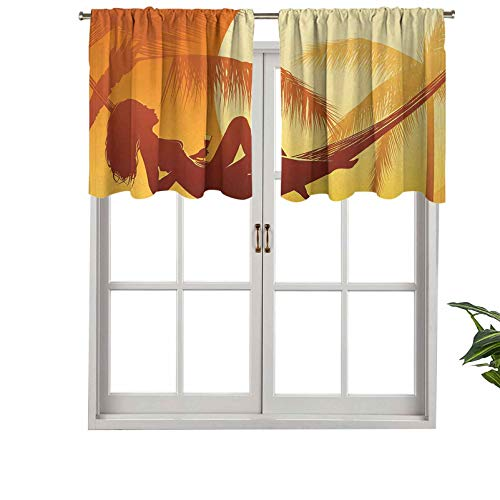 Hiiiman Small Kitchen Window Curtains Valances Silhouette of Sexy Woman Lying in a Hammock, Set of 1, 52'x18' for Kitchen Bathroom and Cafe