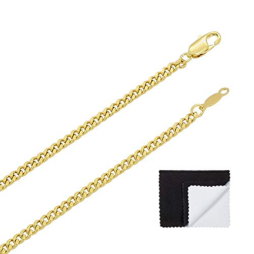 The Bling Factory 3mm Polished 0.25 mils (6 microns) 24k Yellow Gold Plated Cuban Link Chain Necklace, 20 inches + Jewelry Cloth & Pouch
