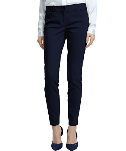 SATINATO Women's Straight Pants Stretch Slim Skinny Solid Trousers Casual Business Office Navy