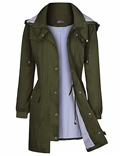 Raincoats Waterproof Lightweight Rain Jacket Active Outdoor Hooded Womens Trench Coats Army Green M