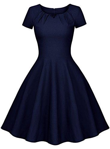Miusol Vintage 50er Kleid Knielang Ballkleid Rockabilly Cocktail Abendkleid Dunkelblau Gr.XXL - 4