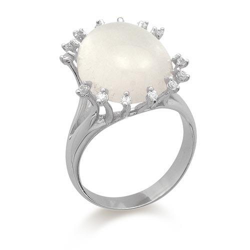 Caramella Anello Donna in Oro 18 carati Bianco con Cristallo di Rocca e Zircone Bianco, Taglia 14, 5.8 Grammi