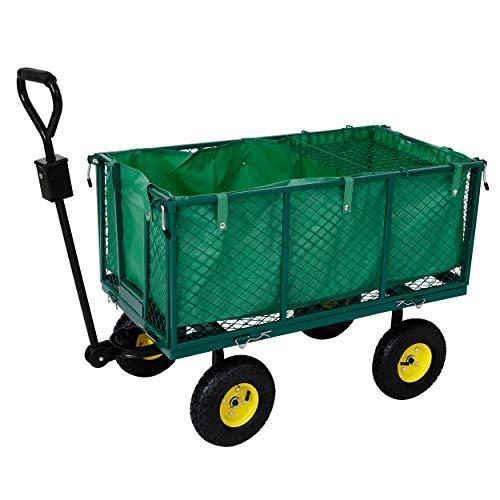 Arebos Bollerwagen | Gartenwagen | mit Profilreifen | 550kg belastbar | faltbar | grün | herausnehmbare Plane | kugelgelagerte Stahlfelgen | inkl. Handgriff & Deichsel | Plattformwagen