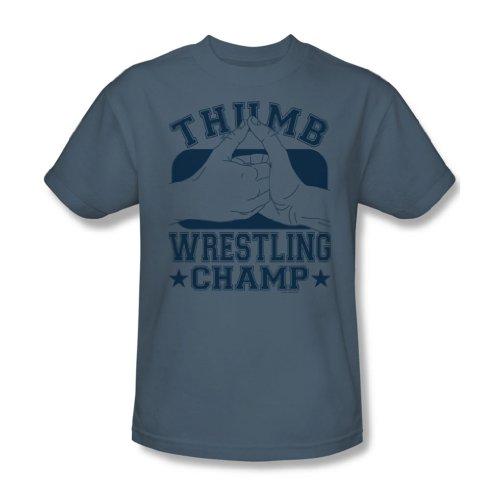 Daumen-Wrestling-Champ - Adult Slate Kurzarm T-Shirt für Männer, XX-Large, Slate