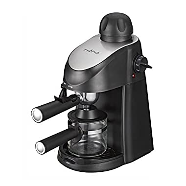 Miho CM-01A Espresso Machine 3.5 Bar Steam Cappuccino and Latte Maker Compact Design Milk Frother 4 Cups Coffee Capacity Electric 800W