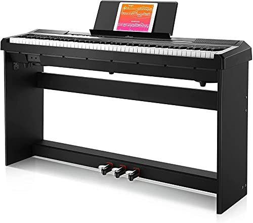 Donner Digital Piano Keyboard 88 Keys Weighted Semi with Piano Stand, Beginner Electric Piano Full Size with Triple Pedal, DEP-10S