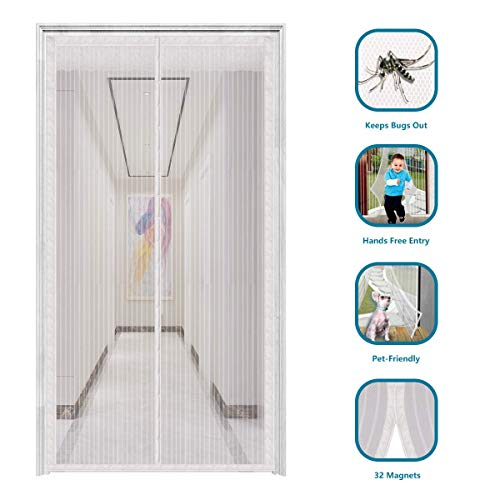 "innotree 2020 Upgraded Magnetic Screen Door with 32 Magnets Heavy Duty Mesh Curtain, Fits Doors Up to 39""x82"", Dogs Pets Friendly Door Screen, White"