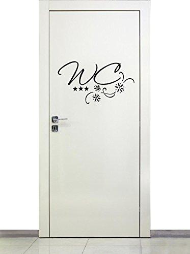 timalo® Türaufkleber WC | Wandtattoo Toilette Text Aufkleber Tür Bad 72017-29x16 cm mit Sternen, Beschriftung Badezimmer