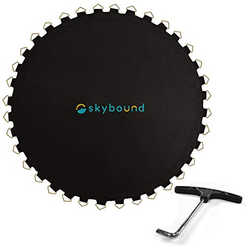 SkyBound Replacement Trampoline Mat, Fits 15ft Frames w/Spring Tool and Durable V-Rings, Bounce Safely with an Anti-Microbial Covering