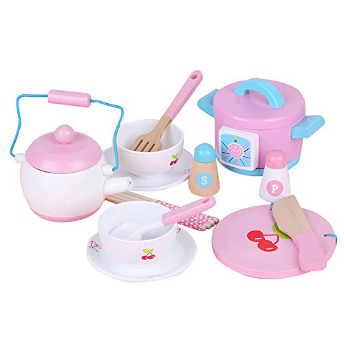 Sxgyubt 14pcs Mini Simular Madera Cocina Vajilla Cocina Juguetes Set para Niños Niñas