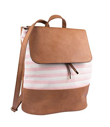 SIX Damen Rucksack aus veganem hellbraunen Leder mit Stoffeinsatz in rosa, beige gestreift (726-742)