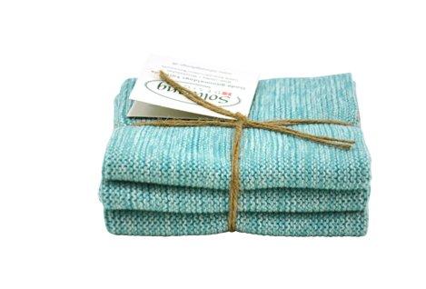 solwang Lavette Aqua Turquoise Mix tricot coton wischla PPen acier inoxydable Plâtre Manique, 3 pièces Kombi