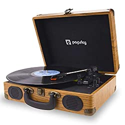 professional Popsky record player, vintage style 3-speed record player, integrated Bluetooth record player …