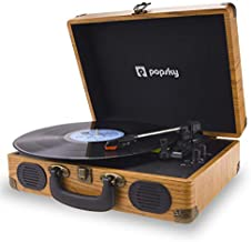 Popsky Record Player, 3-Speed Vintage Style Turntable, Bluetooth Record Player with Built-in Stereo Speakers, Portable Suitcase LP Vinyl Player, Headphone & USB & RCA Jack