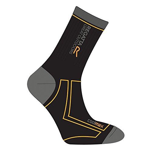 Regatta Herren Coolmax Trek and Trail Sock Black/Gold Heat 9-12
