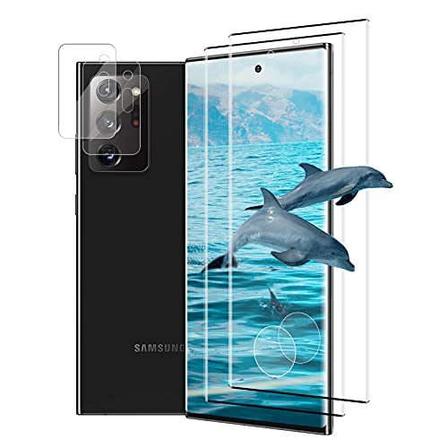 (2+2 Stück) Panzerglas für Samsung Galaxy Note 20 Ultra + Kamera Schutzfolie, Anti-Kratzen Bildschirmschutz Folie, 3D Voller Glasfolie, 9H Panzerglasfolie für Samsung Galaxy Note 20 Ultra 5Gund4G (Schwarz)
