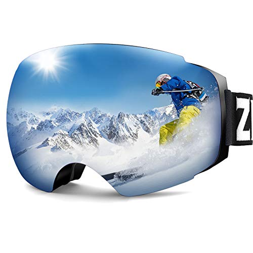ZIONOR X4 Ski Snowboard Snow Goggles Magnet Dual Layers Lens Spherical Design Anti-Fog UV Protection Anti-Slip Strap for Men Women (VLT 13.67% Blue Frame Revo Blue Lens)