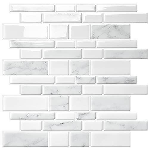 "Uoisaiko Peel and Stick Tile Backsplash for Kitchen Wall Tile, Self Adhesive Marble Backsplash Subway Tile Backsplash, Stick on Tiles Kitchen Backsplash 12""x12"", 5 Sheets"