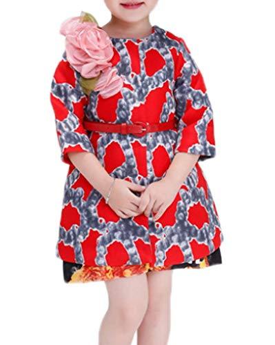YiyiLai YiyiLai Modern Mit Blume Druck Rundhals 3/4 Aermel Kind Mädchen Trenchcoat Outwear Jacke Mandel BlazerBunt 110