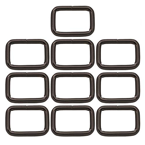 BIKICOCO Metal Rectangle Ring Buckles Square Strap Webbing Belt Rings for Bag, Purse, Non Welded, 2.5 x 1.5 cm, Gunmetal - Pack of 10