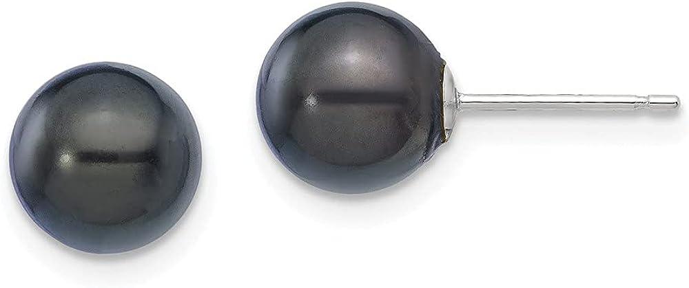 14K White Gold 7-8mm Round Black Saltwater Akoya Earrings