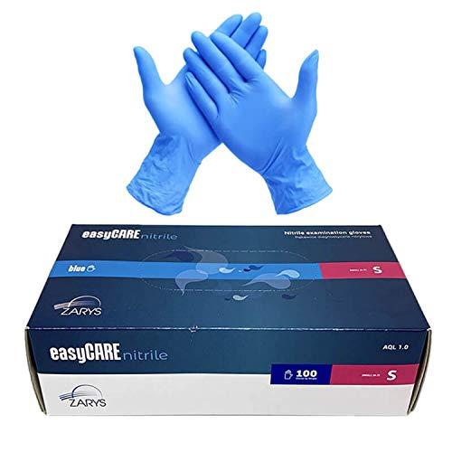 EasyCare - Guantes De Nitrilo Desechables, Color Azul, Antivirus, Sin Polvo, Caja...