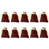 Toyvian 10 Unidades 10X12cm Bolsas con Cordón Bolsa de Almacenamiento Organizador de Tela Bolsas de Dados Bolsas de Regalo Festival para Regalo Pequeño de Joyería (Rojo Oscuro)