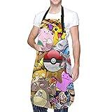 MayBlosom Grembiule Anime Pokemon Adulto Impermeabile Grembiule con Tasca Lavabile in lavatrice Cucina BBQ Grembiule 71,1 x 83,8 cm